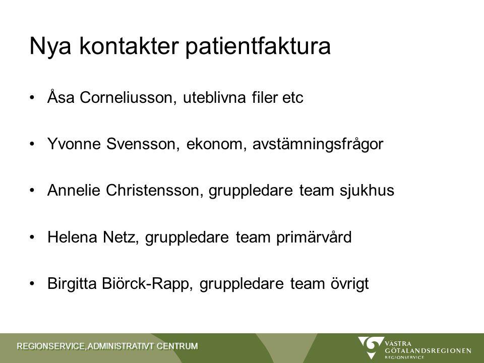REGIONSERVICE, ADMINISTRATIVT CENTRUM Nya kontakter patientfaktura Åsa Corneliusson, uteblivna filer etc Yvonne Svensson, ekonom, avstämningsfrågor An