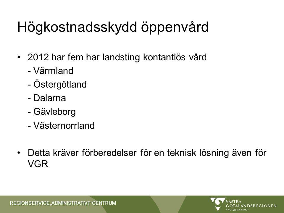 REGIONSERVICE, ADMINISTRATIVT CENTRUM Högkostnadsskydd öppenvård 2012 har fem har landsting kontantlös vård - Värmland - Östergötland - Dalarna - Gävl