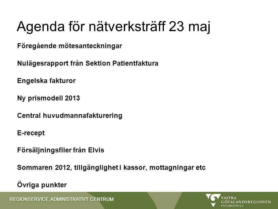 REGIONSERVICE, ADMINISTRATIVT CENTRUM Agenda för nätverksträff 23 maj Föregående mötesanteckningar Nulägesrapport från Sektion Patientfaktura Engelska