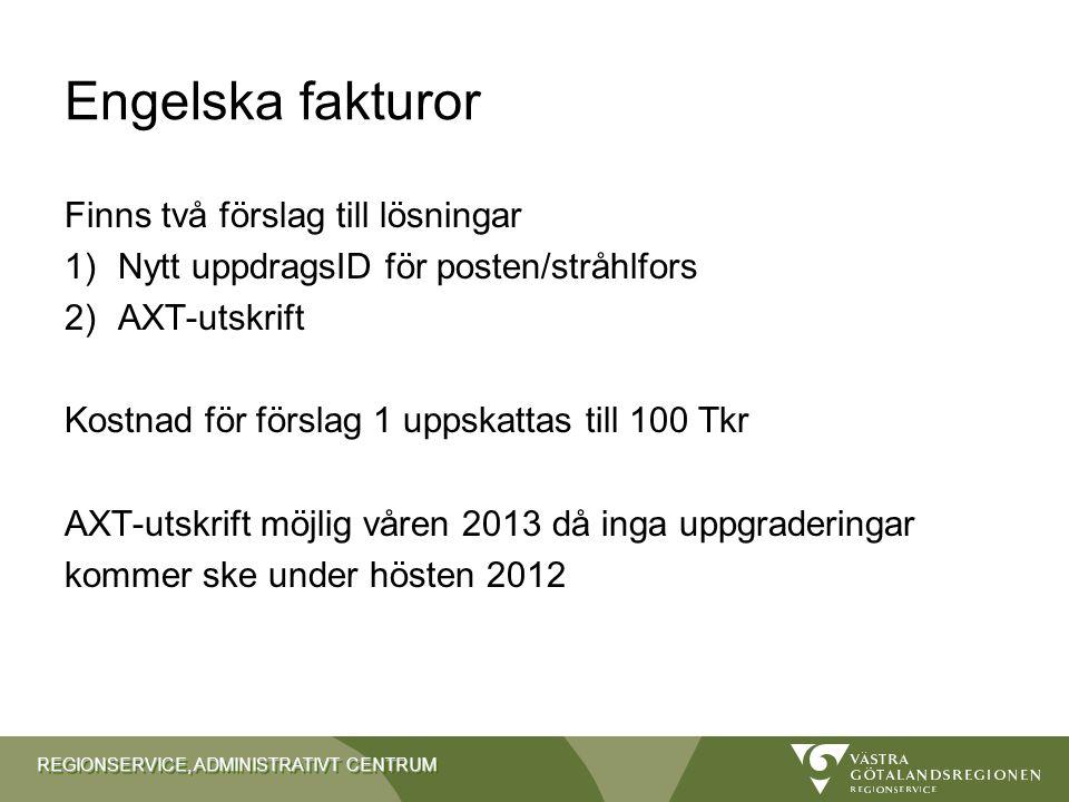Engelska fakturor Finns två förslag till lösningar 1)Nytt uppdragsID för posten/stråhlfors 2)AXT-utskrift Kostnad för förslag 1 uppskattas till 100 Tk