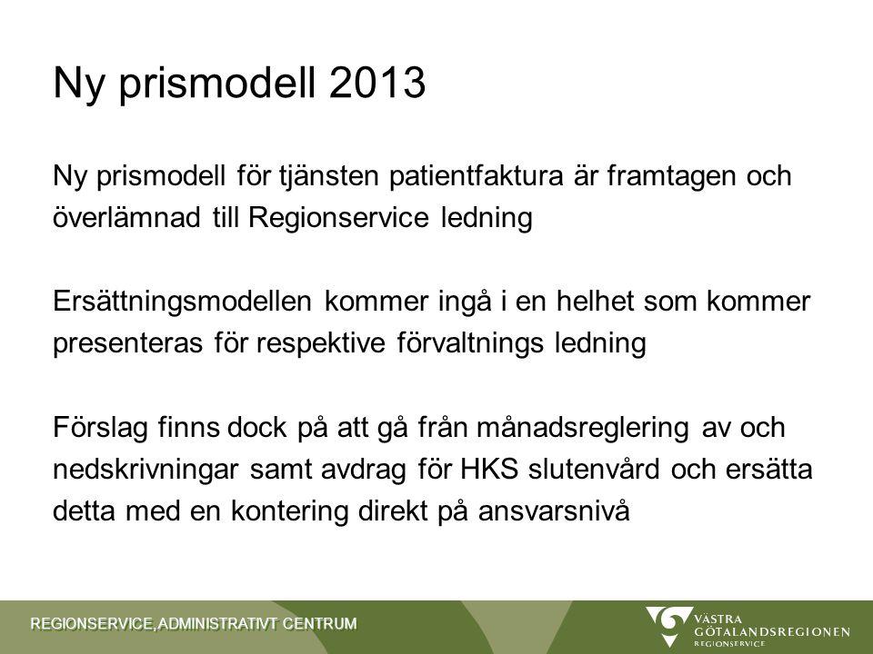 REGIONSERVICE, ADMINISTRATIVT CENTRUM Ny prismodell 2013 Ny prismodell för tjänsten patientfaktura är framtagen och överlämnad till Regionservice ledn