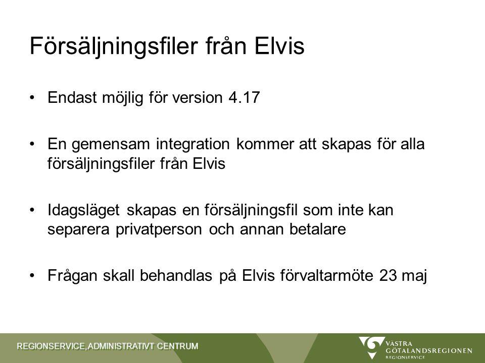 REGIONSERVICE, ADMINISTRATIVT CENTRUM Försäljningsfiler från Elvis Endast möjlig för version 4.17 En gemensam integration kommer att skapas för alla f