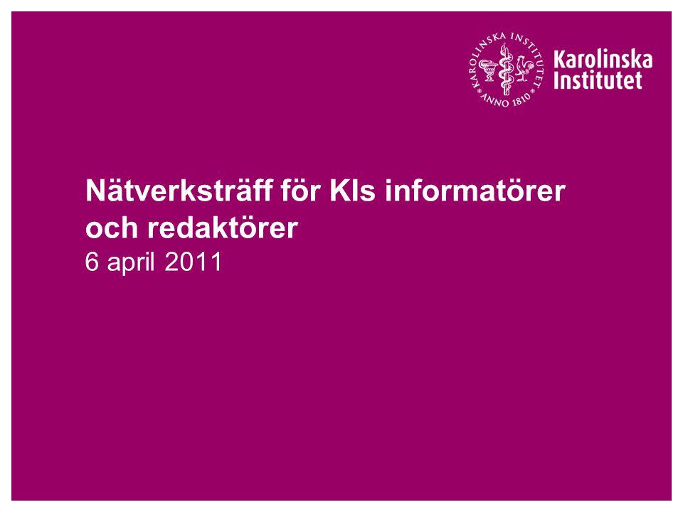 6 april 2011Seminarium, KIs informatörsnätverk Tre faser i krishantering 1.Akutfas - rädda liv - begränsa skador - sammankalla krisledning 2.Krishanteringsfasen - ta kontroll - krisstöd till personal - säkerställ att prioriterade processer fungerar - information och kommunikation – internt och externt 3.Återgångsfasen - hantera det extra arbete som krisen medfört - samla in erfarenheter - eventuell debriefing/bearbetning