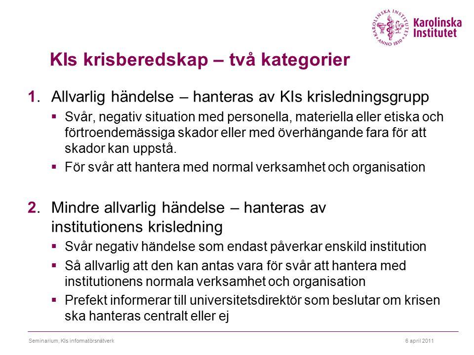 6 april 2011Seminarium, KIs informatörsnätverk KIs krisberedskap – två kategorier 1. Allvarlig händelse – hanteras av KIs krisledningsgrupp  Svår, ne