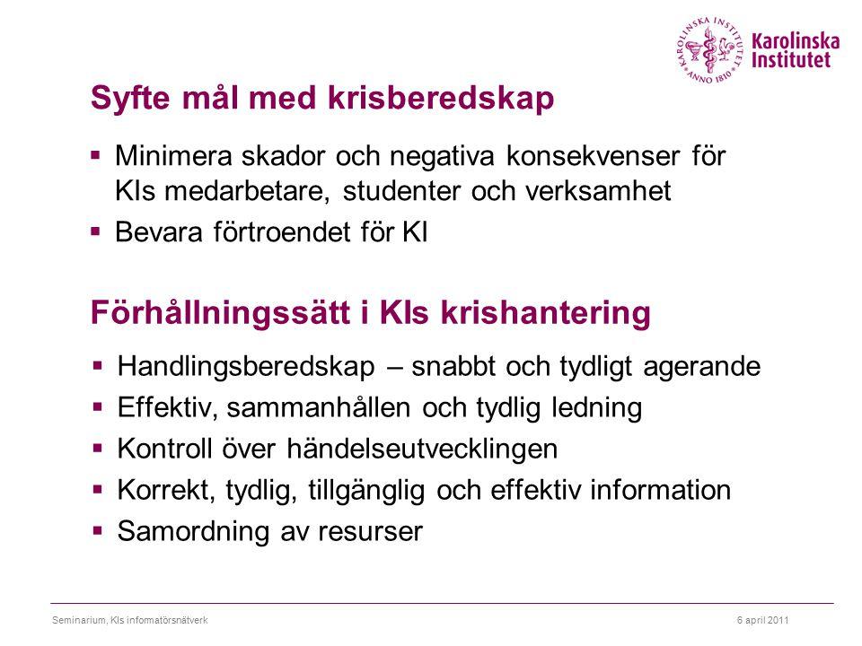 6 april 2011Seminarium, KIs informatörsnätverk Syfte mål med krisberedskap  Minimera skador och negativa konsekvenser för KIs medarbetare, studenter