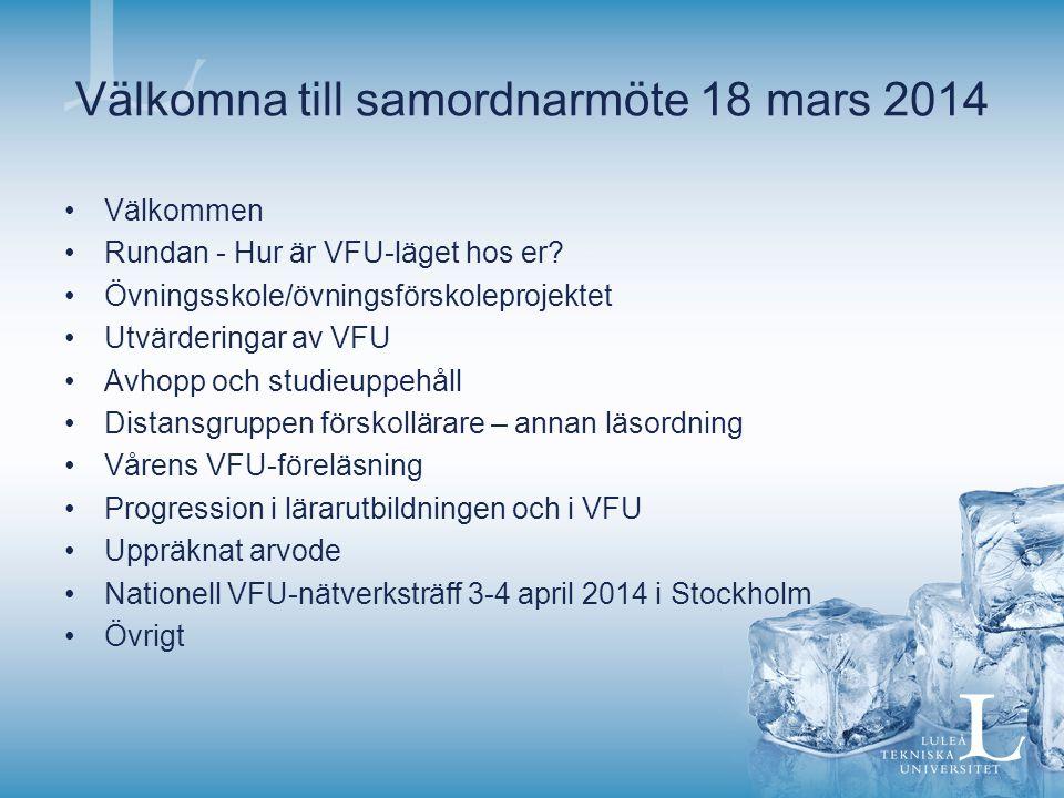 Välkomna till samordnarmöte 18 mars 2014 Välkommen Rundan - Hur är VFU-läget hos er? Övningsskole/övningsförskoleprojektet Utvärderingar av VFU Avhopp