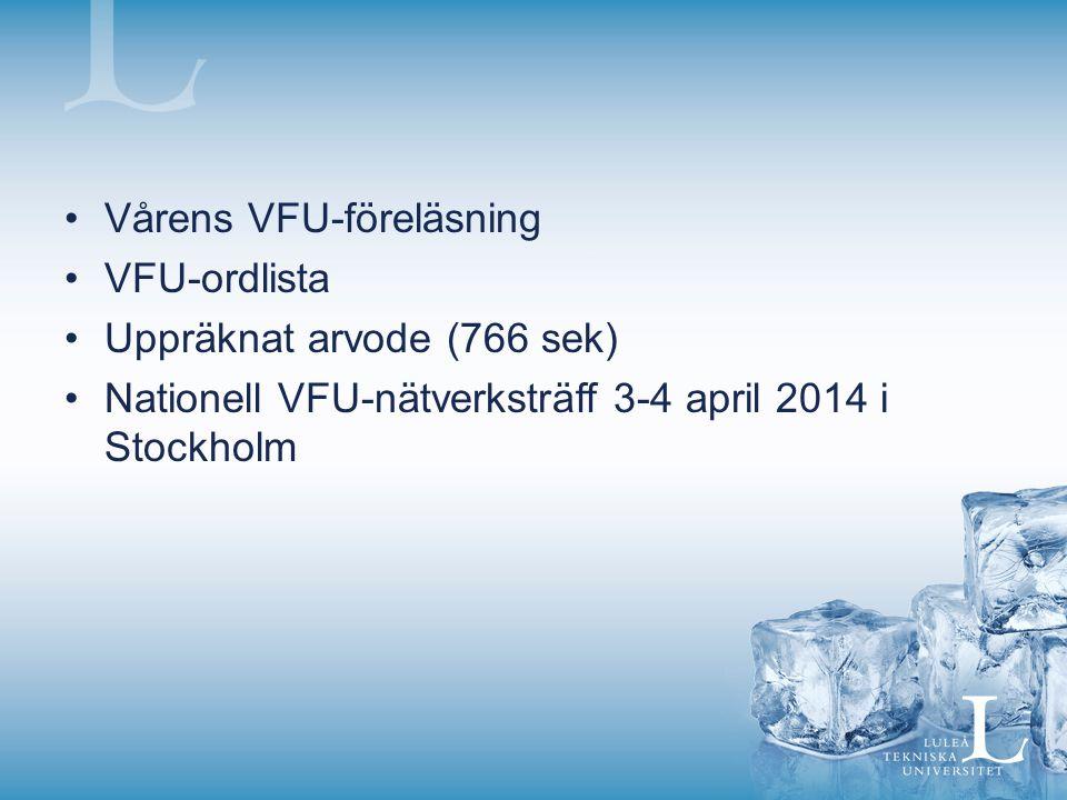Vårens VFU-föreläsning VFU-ordlista Uppräknat arvode (766 sek) Nationell VFU-nätverksträff 3-4 april 2014 i Stockholm