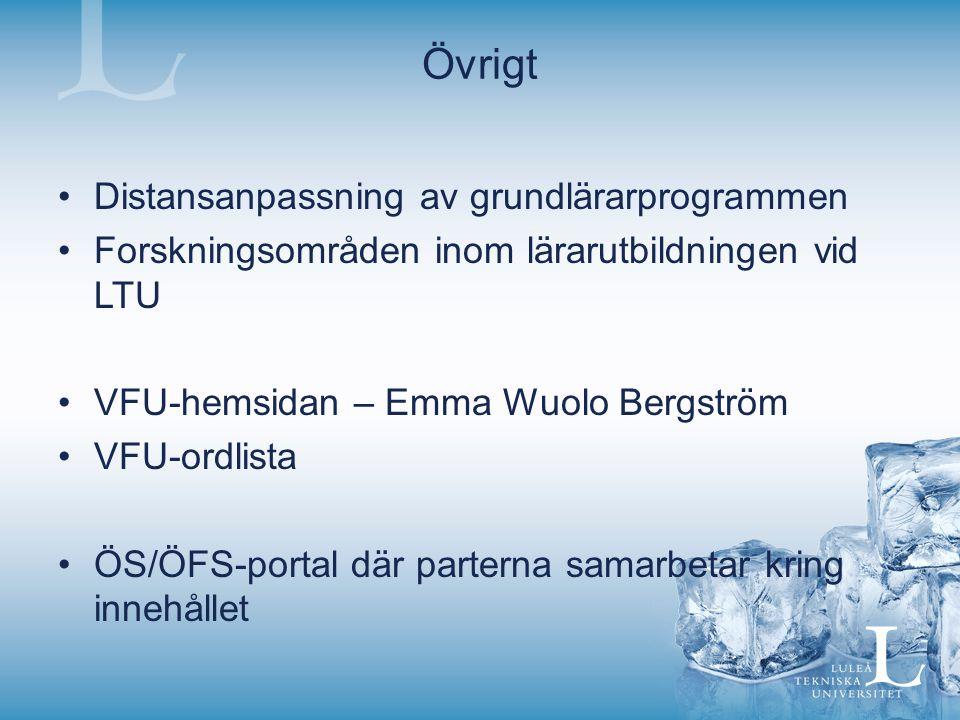 Övrigt Distansanpassning av grundlärarprogrammen Forskningsområden inom lärarutbildningen vid LTU VFU-hemsidan – Emma Wuolo Bergström VFU-ordlista ÖS/