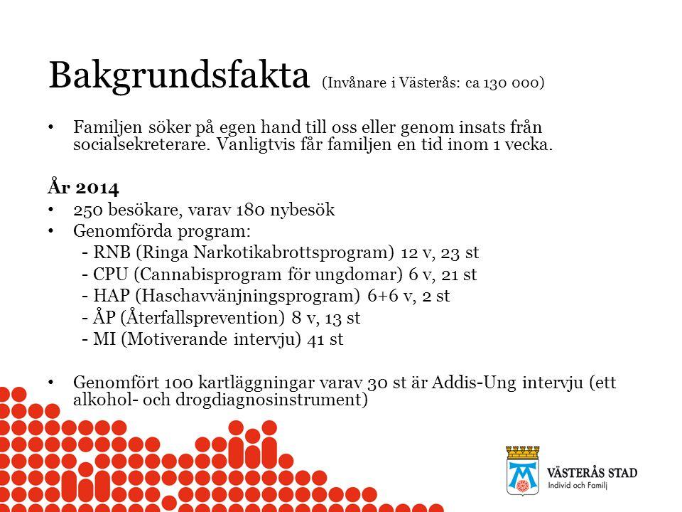 Bakgrundsfakta (Invånare i Västerås: ca 130 000) Familjen söker på egen hand till oss eller genom insats från socialsekreterare.