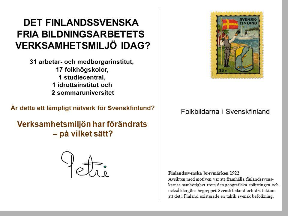 DET FINLANDSSVENSKA FRIA BILDNINGSARBETETS VERKSAMHETSMILJÖ IDAG.