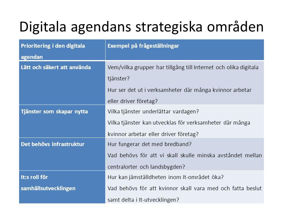 Digitala agendans strategiska områden Prioritering i den digitala agendan Exempel på frågeställningar Lätt och säkert att använda Vem/vilka grupper ha