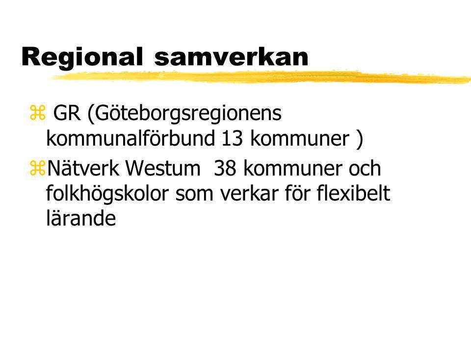 Regional samverkan z GR (Göteborgsregionens kommunalförbund 13 kommuner ) zNätverk Westum 38 kommuner och folkhögskolor som verkar för flexibelt lärande