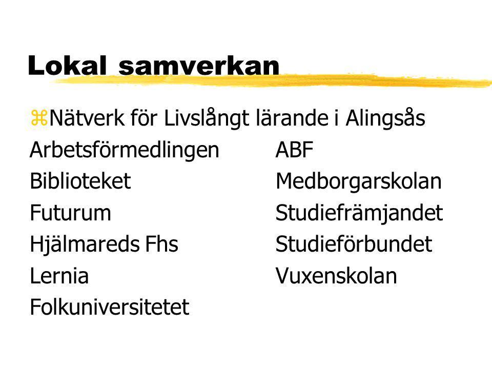 Lokal samverkan zNätverk för Livslångt lärande i Alingsås ArbetsförmedlingenABF BiblioteketMedborgarskolan FuturumStudiefrämjandet Hjälmareds FhsStudieförbundet LerniaVuxenskolan Folkuniversitetet