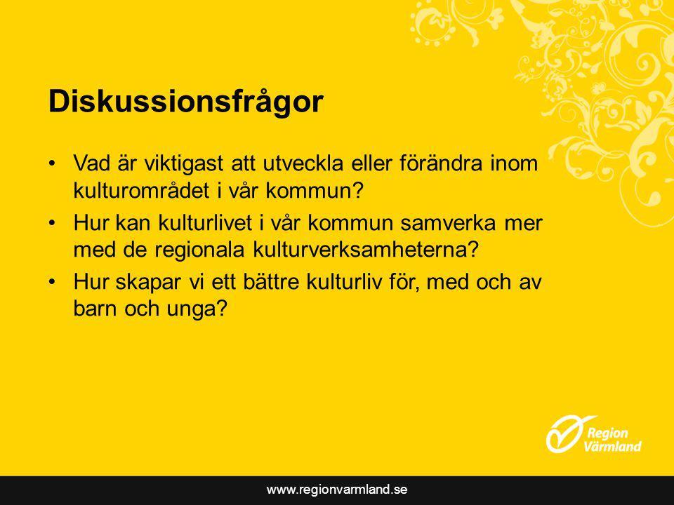 www.regionvarmland.se Diskussionsfrågor Vad är viktigast att utveckla eller förändra inom kulturområdet i vår kommun.