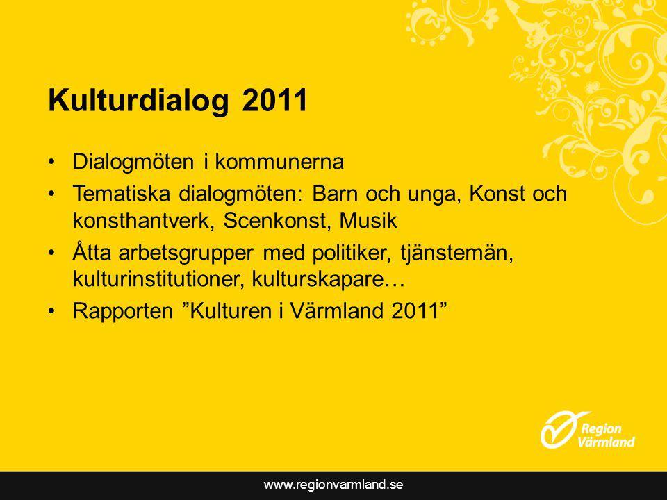 www.regionvarmland.se Syften med samverkansmodellen Fler ges möjlighet påverka kulturpolitiken En möjlighet till lärande och ökat engagemang Fokus på kulturutveckling och förnyelse Stärkt dialog och samsyn mellan kommuner och region Ökat intresse för samverkan Plattform för kommunernas eget arbete med kulturen