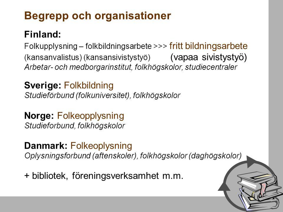 Begrepp och organisationer Finland: Folkupplysning – folkbildningsarbete >>> fritt bildningsarbete (kansanvalistus) (kansansivistystyö) (vapaa sivisty