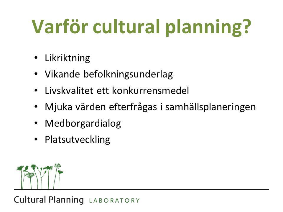 Varför cultural planning? Likriktning Vikande befolkningsunderlag Livskvalitet ett konkurrensmedel Mjuka värden efterfrågas i samhällsplaneringen Medb