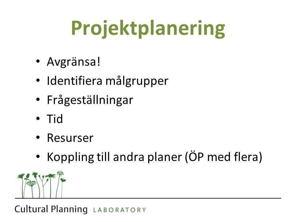 Projektplanering Avgränsa! Identifiera målgrupper Frågeställningar Tid Resurser Koppling till andra planer (ÖP med flera)