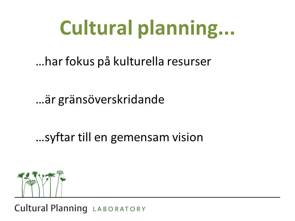 Cultural planning... …har fokus på kulturella resurser …är gränsöverskridande …syftar till en gemensam vision