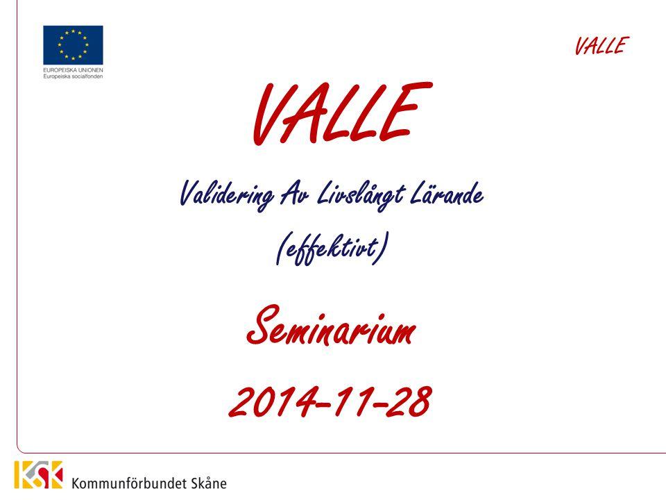 VALLE Validering Av Livslångt Lärande (effektivt) Seminarium 2014-11-28 VALLE