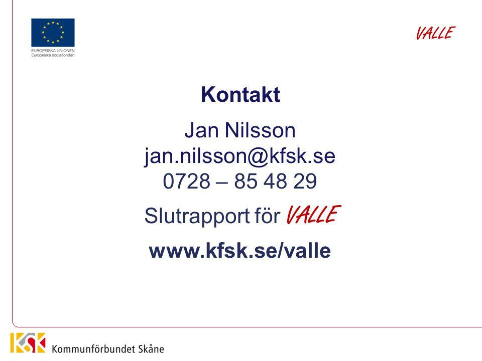 Kontakt Jan Nilsson jan.nilsson@kfsk.se 0728 – 85 48 29 Slutrapport för VALLE www.kfsk.se/valle VALLE