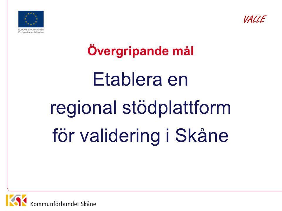 Övergripande mål Etablera en regional stödplattform för validering i Skåne VALLE