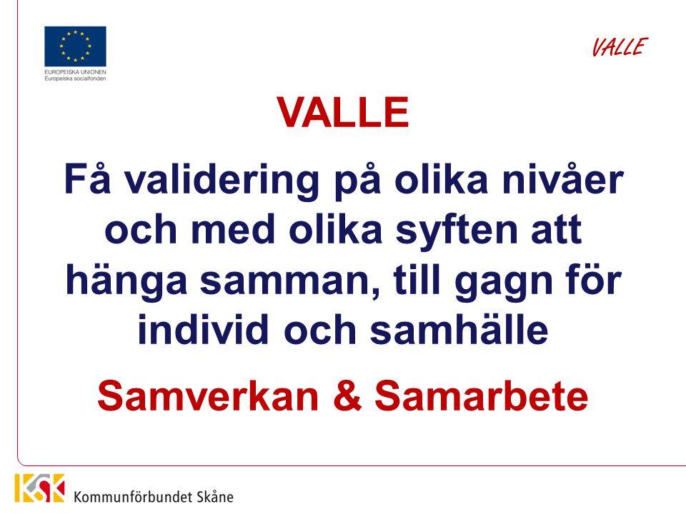 Vad behövs? Inte nya metoder för validering, utan En metod för samverkan och samarbete VALLE