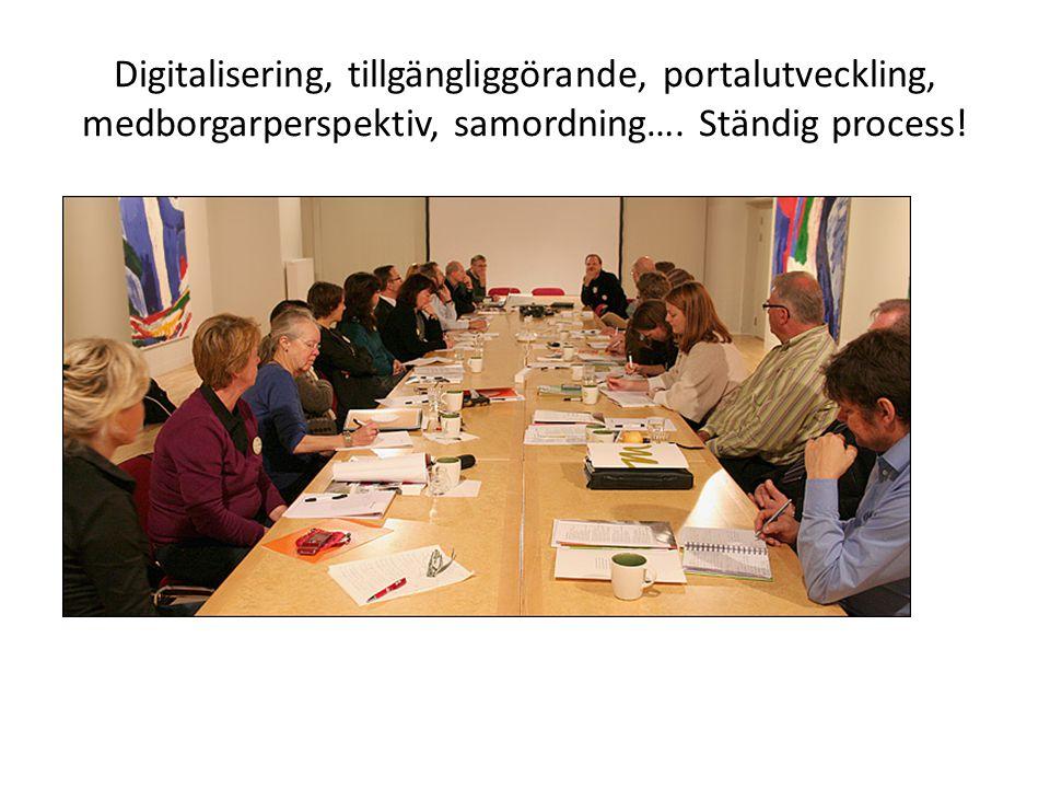 Digitalisering, tillgängliggörande, portalutveckling, medborgarperspektiv, samordning…. Ständig process!