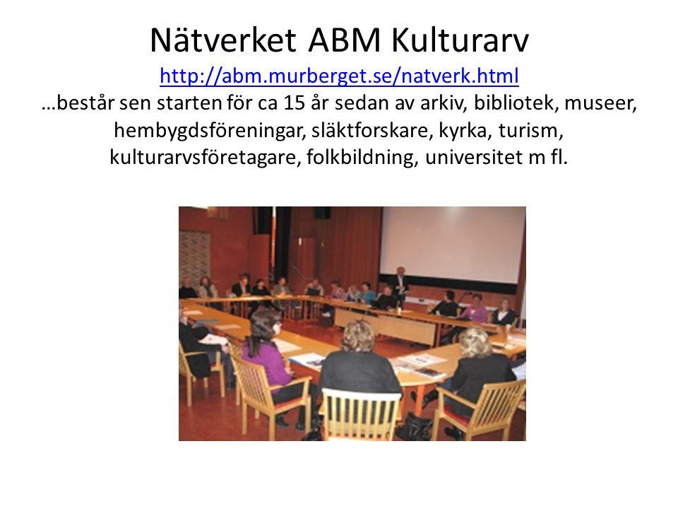 Nätverket ABM Kulturarv http://abm.murberget.se/natverk.html …består sen starten för ca 15 år sedan av arkiv, bibliotek, museer, hembygdsföreningar, släktforskare, kyrka, turism, kulturarvsföretagare, folkbildning, universitet m fl.
