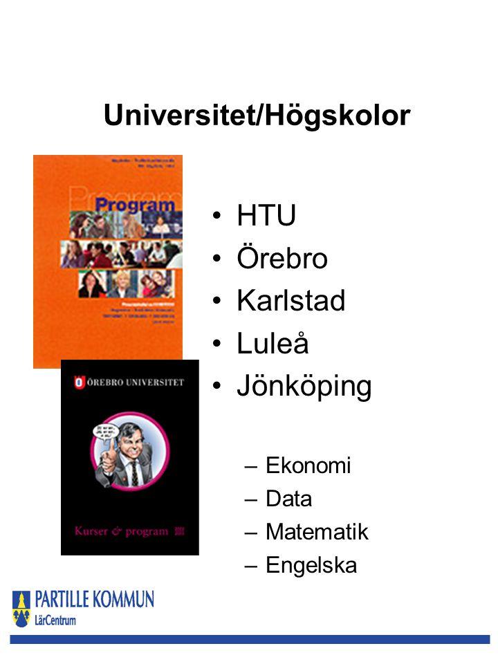 Universitet/Högskolor HTU Örebro Karlstad Luleå Jönköping –Ekonomi –Data –Matematik –Engelska
