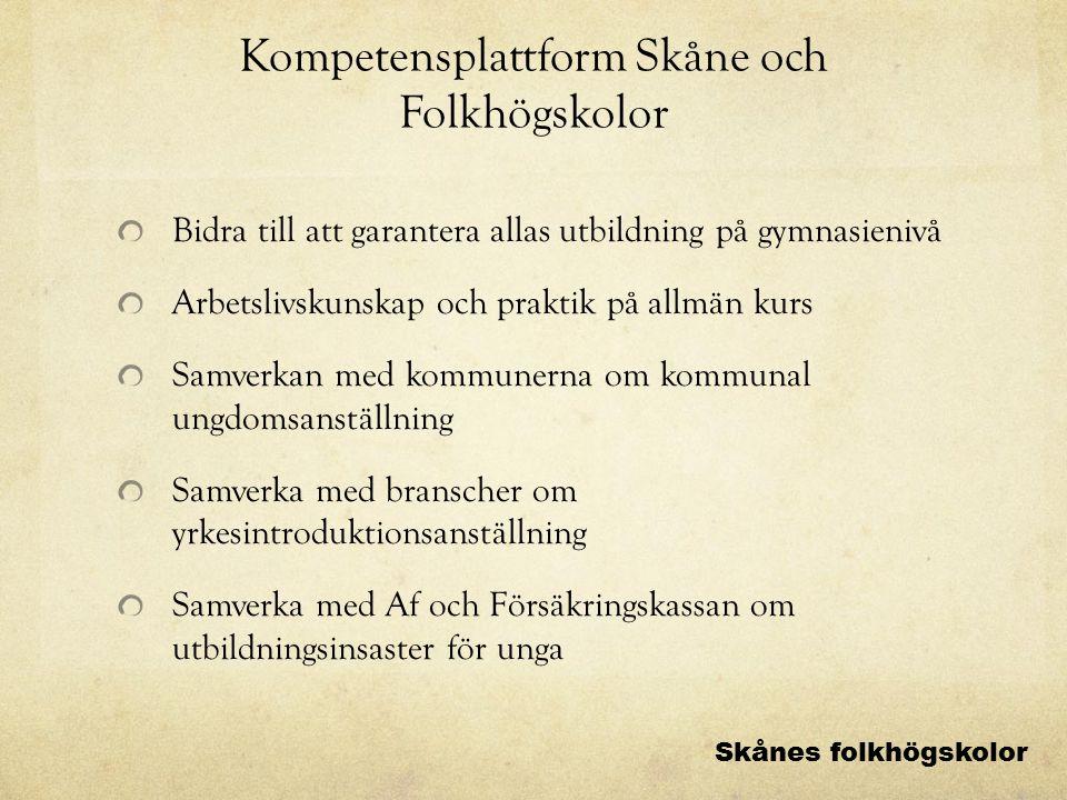 Kompetensplattform Skåne och Folkhögskolor Bidra till att garantera allas utbildning på gymnasienivå Arbetslivskunskap och praktik på allmän kurs Samv