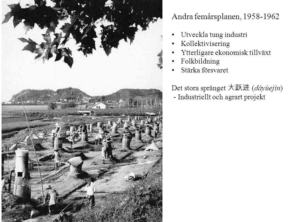 Andra femårsplanen, 1958-1962 Utveckla tung industri Kollektivisering Ytterligare ekonomisk tillväxt Folkbildning Stärka försvaret Det stora språnget
