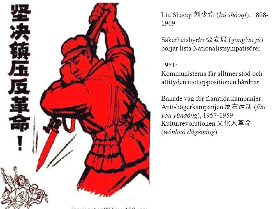 Liu Shaoqi 刘少奇 (liú shàoqí), 1898- 1969 Säkerhetsbyrån 公安局 (gōng'ān jú) börjar lista Nationalistsympatisörer 1951: Kommunisterna får alltmer stöd och