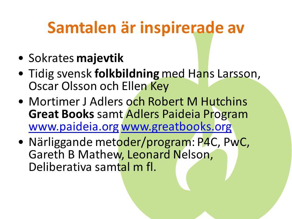 Samtalen är inspirerade av Sokrates majevtik Tidig svensk folkbildning med Hans Larsson, Oscar Olsson och Ellen Key Mortimer J Adlers och Robert M Hut
