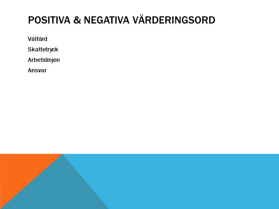 POSITIVA & NEGATIVA VÄRDERINGSORD Välfärd Skattetryck Arbetslinjen Ansvar