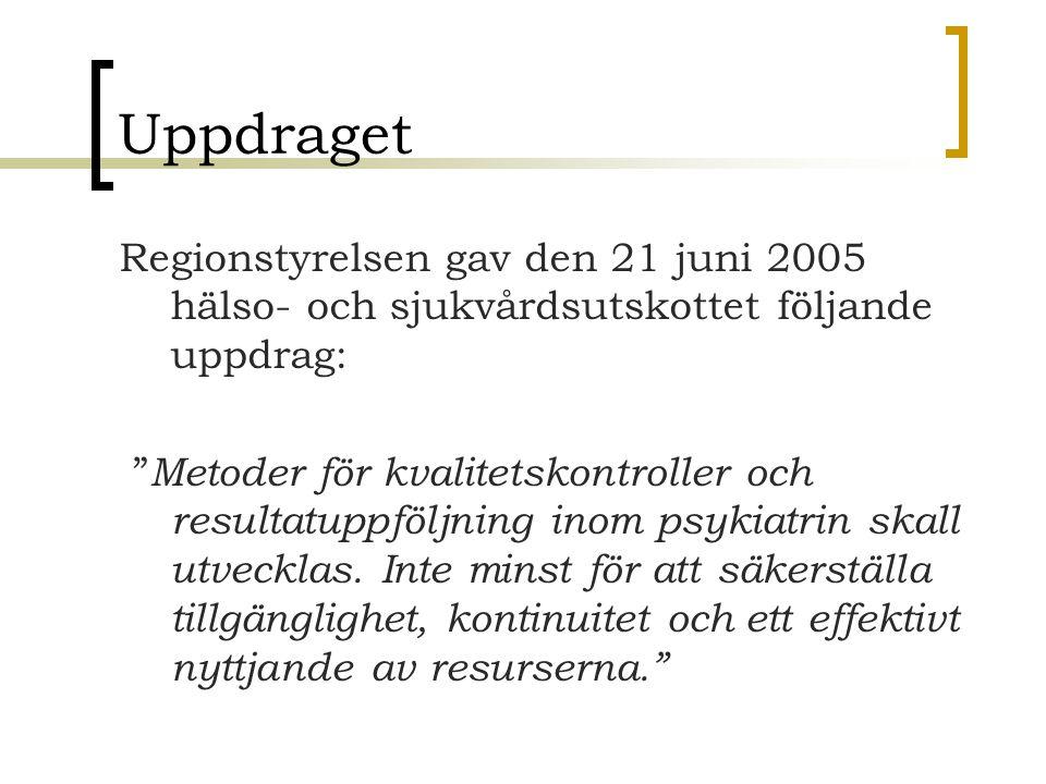 """Uppdraget Regionstyrelsen gav den 21 juni 2005 hälso- och sjukvårdsutskottet följande uppdrag: """" Metoder för kvalitetskontroller och resultatuppföljni"""