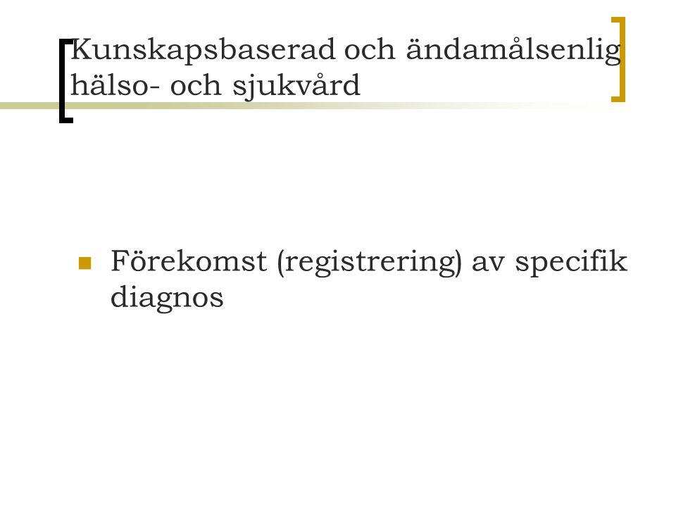 Kunskapsbaserad och ändamålsenlig hälso- och sjukvård Förekomst (registrering) av specifik diagnos