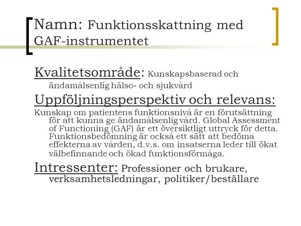 Namn: Funktionsskattning med GAF-instrumentet Kvalitetsområde: Kunskapsbaserad och ändamålsenlig hälso- och sjukvård Uppföljningsperspektiv och releva