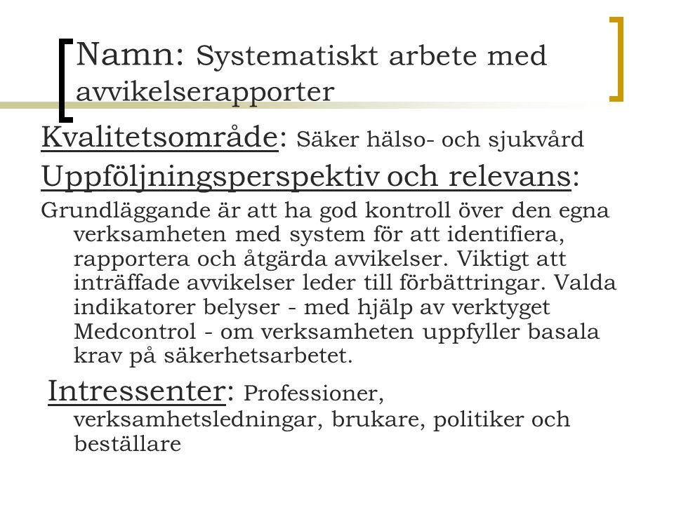 Namn: Systematiskt arbete med avvikelserapporter Kvalitetsområde: Säker hälso- och sjukvård Uppföljningsperspektiv och relevans: Grundläggande är att