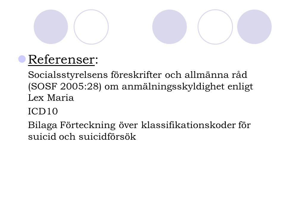 Referenser: Socialsstyrelsens föreskrifter och allmänna råd (SOSF 2005:28) om anmälningsskyldighet enligt Lex Maria ICD10 Bilaga Förteckning över klas