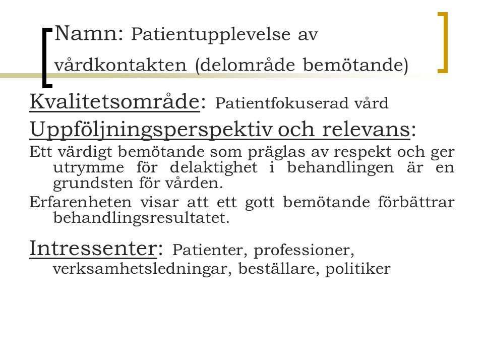 Namn: Patientupplevelse av vårdkontakten (delområde bemötande) Kvalitetsområde: Patientfokuserad vård Uppföljningsperspektiv och relevans: Ett värdigt
