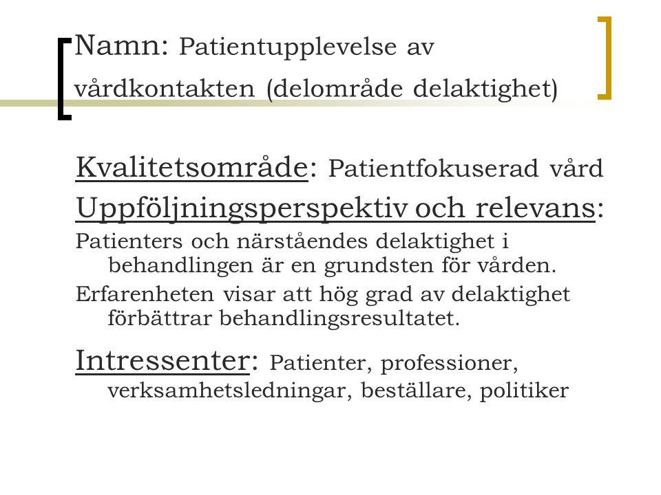 Namn: Patientupplevelse av vårdkontakten (delområde delaktighet) Kvalitetsområde: Patientfokuserad vård Uppföljningsperspektiv och relevans: Patienter