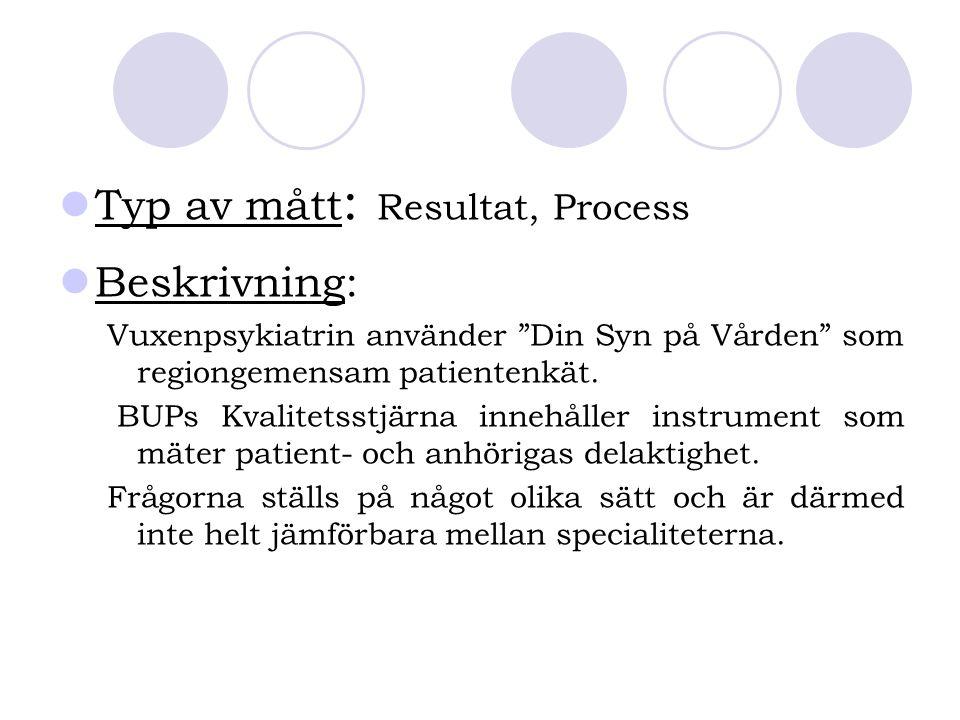 """Typ av mått : Resultat, Process Beskrivning: Vuxenpsykiatrin använder """"Din Syn på Vården"""" som regiongemensam patientenkät. BUPs Kvalitetsstjärna inneh"""