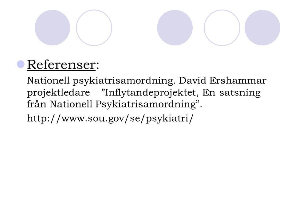 """Referenser: Nationell psykiatrisamordning. David Ershammar projektledare – """"Inflytandeprojektet, En satsning från Nationell Psykiatrisamordning"""". http"""