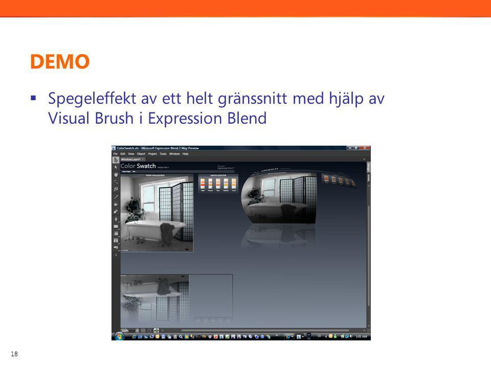 DEMO  Spegeleffekt av ett helt gränssnitt med hjälp av Visual Brush i Expression Blend 18