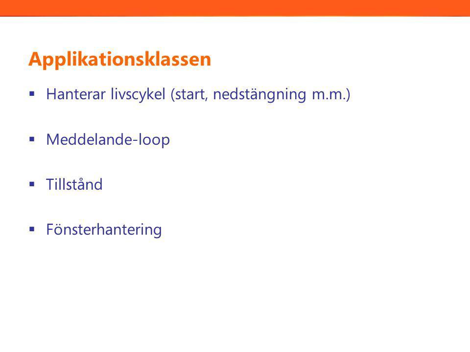 Applikationsklassen  Hanterar livscykel (start, nedstängning m.m.)  Meddelande-loop  Tillstånd  Fönsterhantering