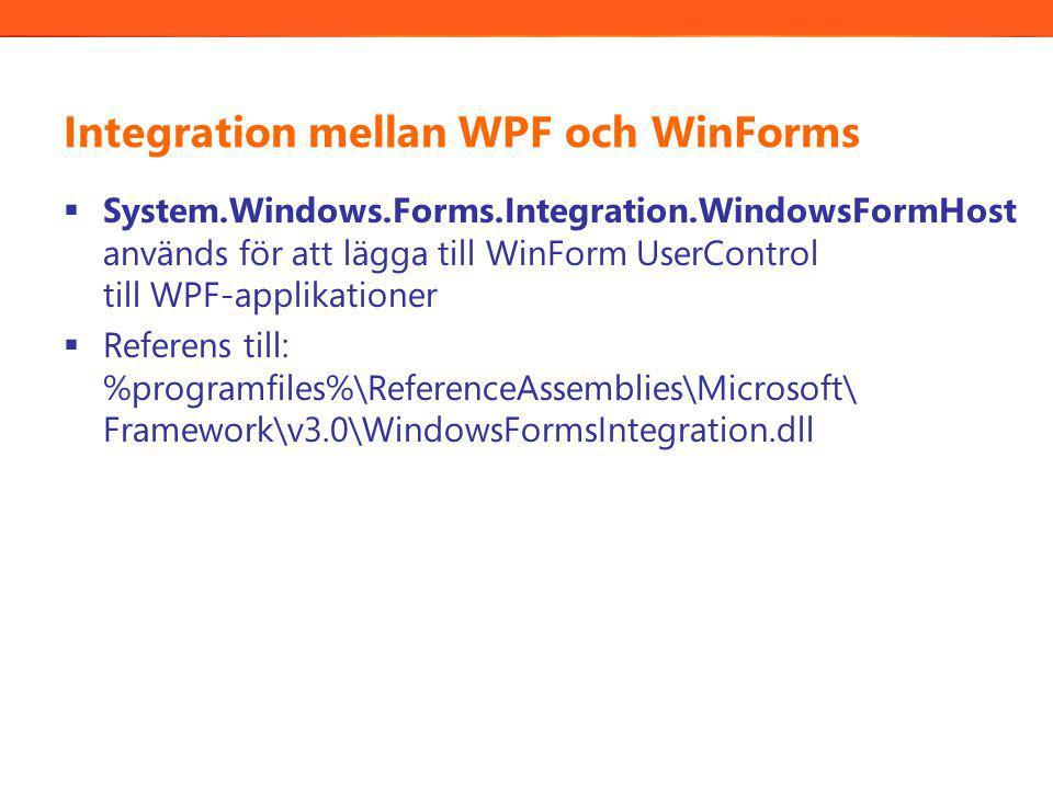 Integration mellan WPF och WinForms  System.Windows.Forms.Integration.WindowsFormHost används för att lägga till WinForm UserControl till WPF-applikationer  Referens till: %programfiles%\ReferenceAssemblies\Microsoft\ Framework\v3.0\WindowsFormsIntegration.dll