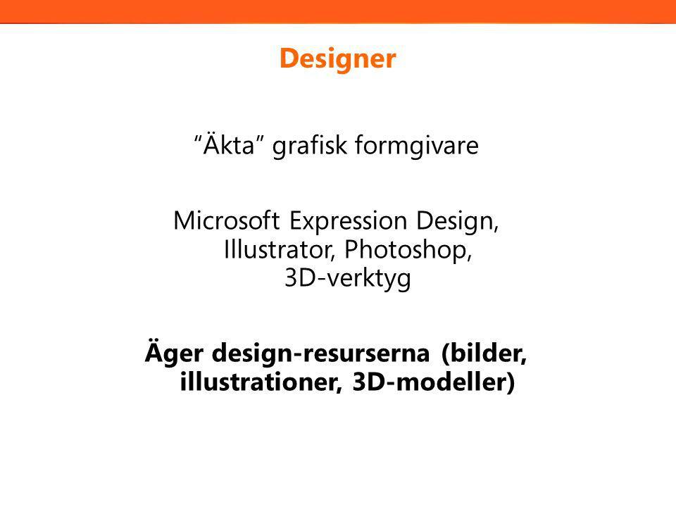 Designer Äkta grafisk formgivare Microsoft Expression Design, Illustrator, Photoshop, 3D-verktyg Äger design-resurserna (bilder, illustrationer, 3D-modeller)