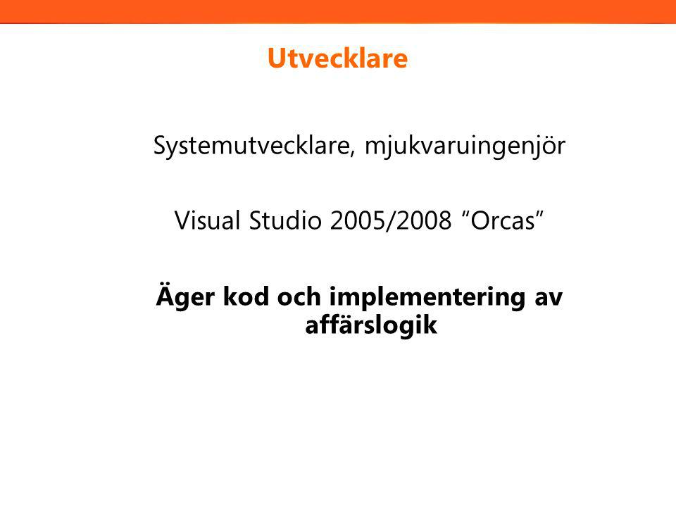 Utvecklare Systemutvecklare, mjukvaruingenjör Visual Studio 2005/2008 Orcas Äger kod och implementering av affärslogik