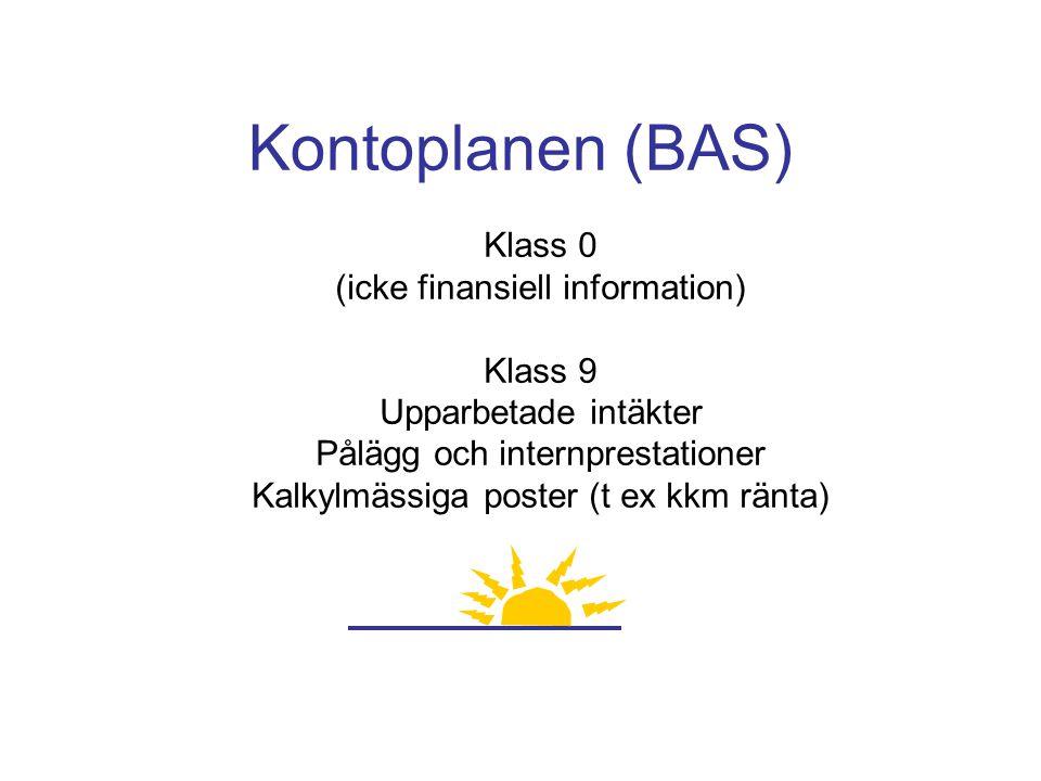 Kontoplanen (BAS) Klass 0 (icke finansiell information) Klass 9 Upparbetade intäkter Pålägg och internprestationer Kalkylmässiga poster (t ex kkm ränt